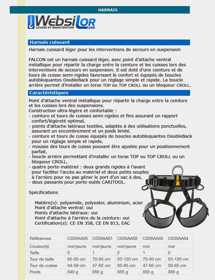Informations techniques Harnais de secours FALCON - taille 1