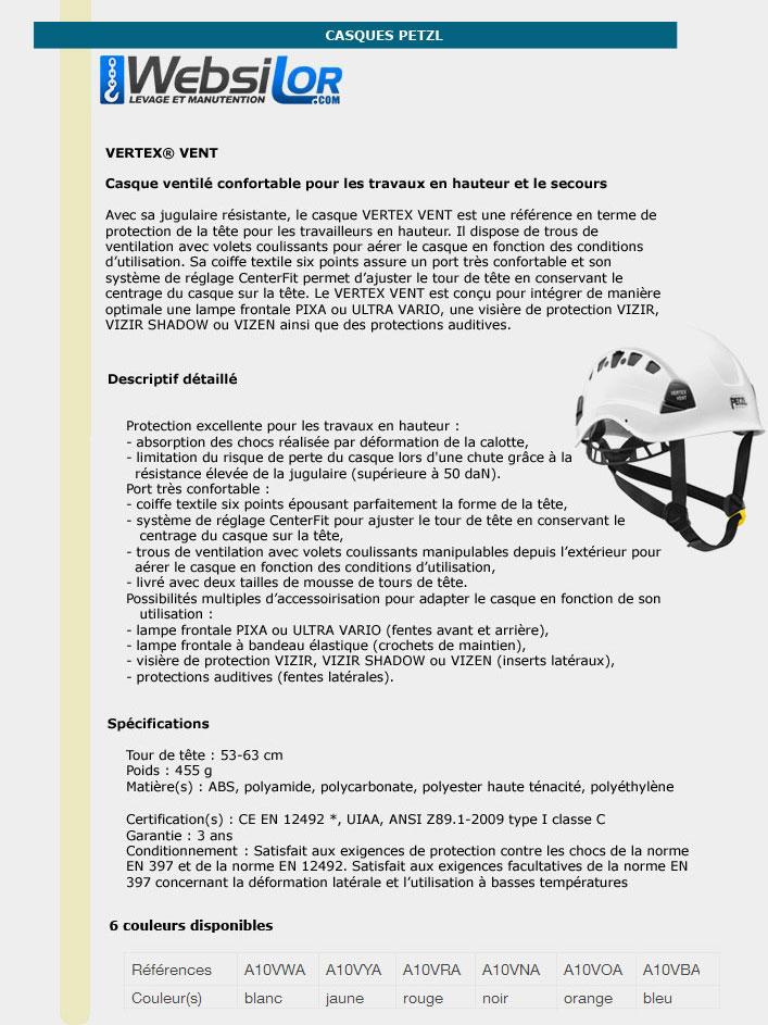 Informations techniques Casque - VERTEX VENT - couleur au choix