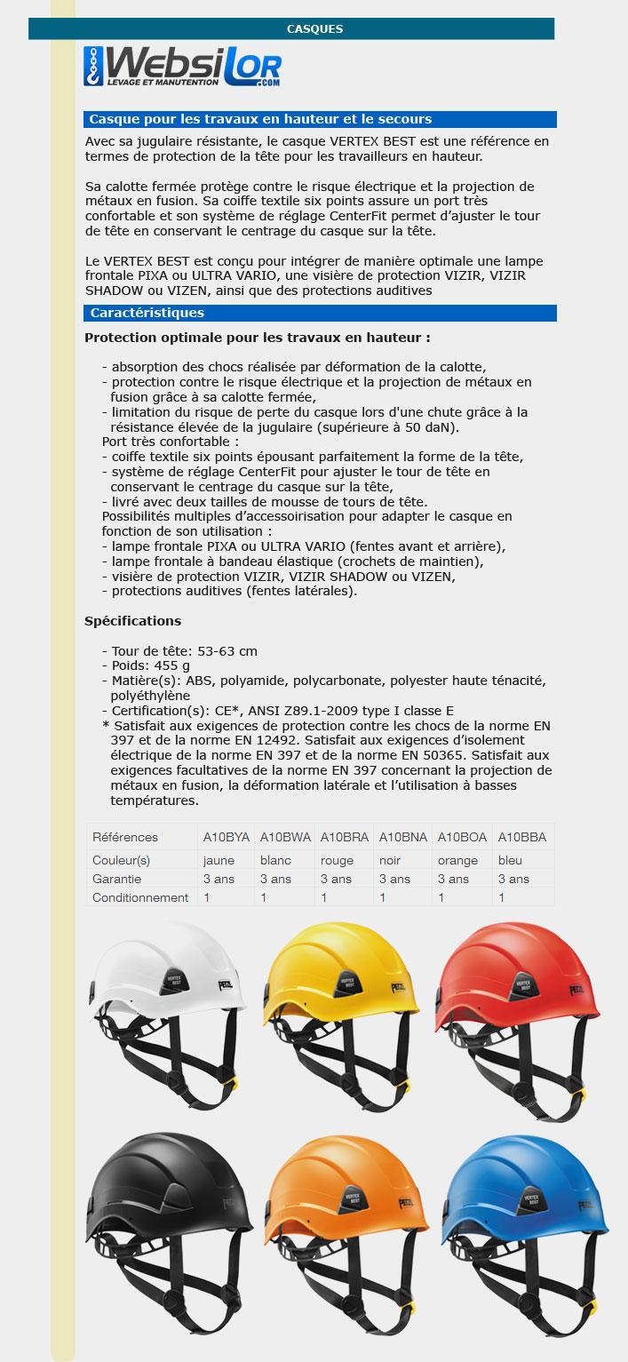 Informations techniques Casque - VERTEX BEST