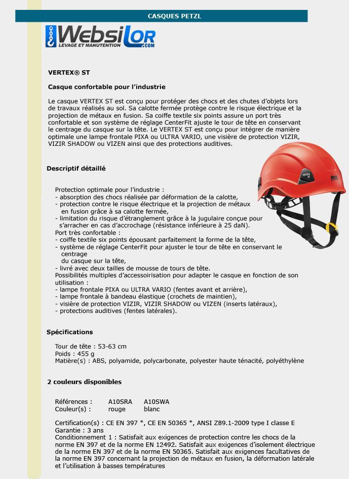Informations techniques Casque Petzl - VERTEX ST - Rouge ou blanc