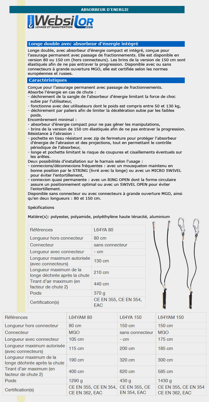 Informations technique de Longe absorbeur d'énergie 150cm