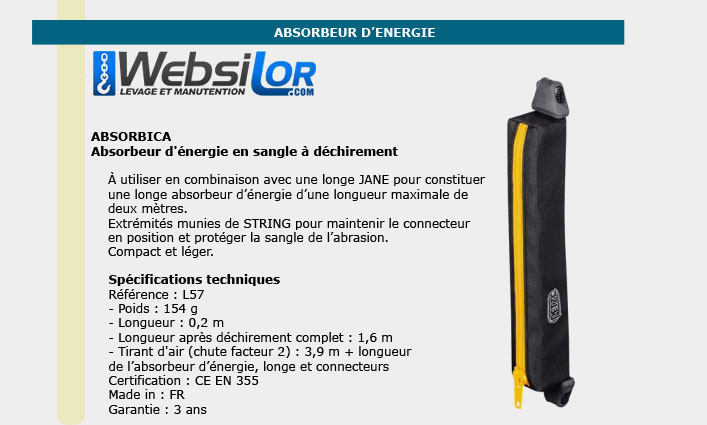 Informations technique de Absorbeur d'énergie absorbica