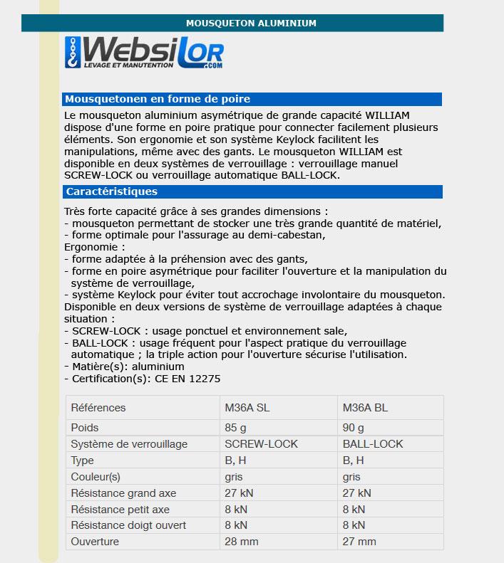 Informations technique de Mousquetons connecteurs william ball-lock