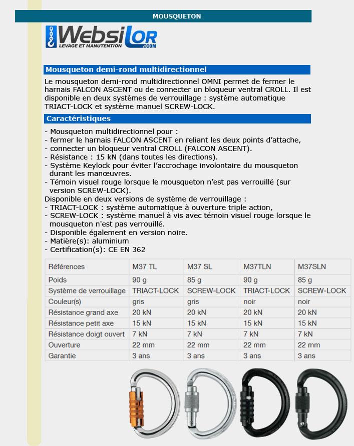 Informations techniques Mousqueton connecteurs omni manuel screw lock