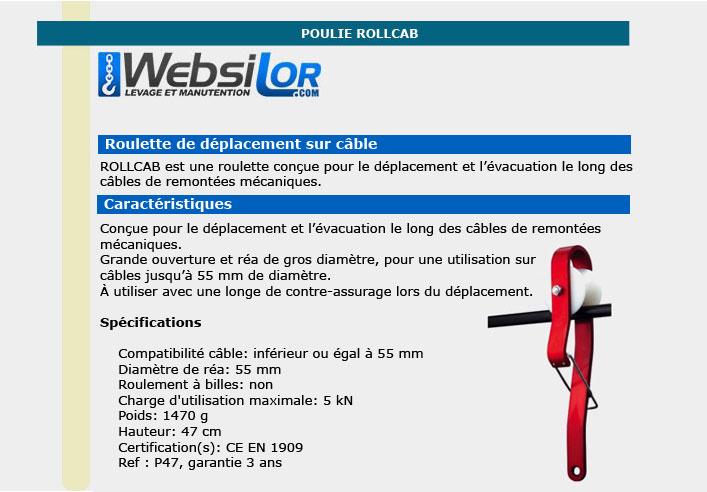 Informations techniques Roulette de sauvetage