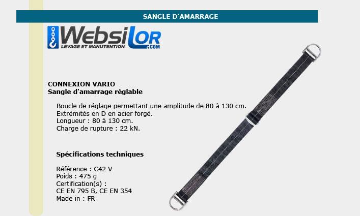 Informations techniques Sangle amarrage 80 à 130cm