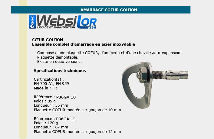 Informations technique de Amarrage coeur goujon diam 10mm