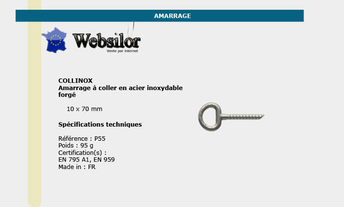 Informations technique de Amarrage collinox diam 10mm